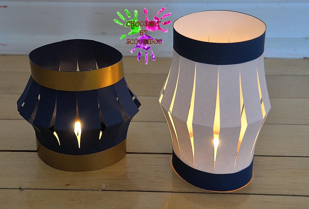 lampions en papier chocolat et scoubidou. Black Bedroom Furniture Sets. Home Design Ideas