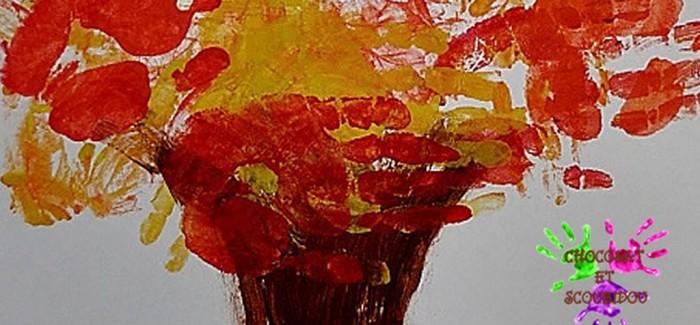 Arbre d'automne – peinture avec les mains