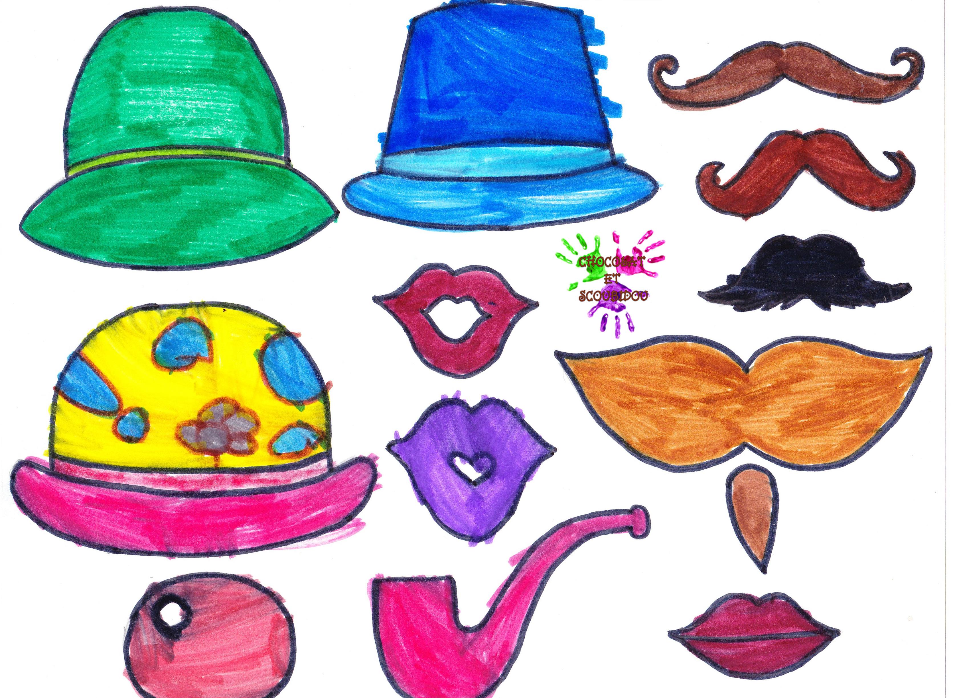 jeu de deguisement chapeaux bouches et moustaches en couleurs