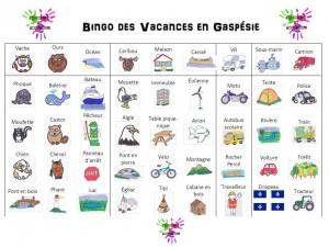 Bingo des Vacances en Gaspésie - textes et images