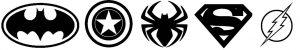 Logos super héros noir et blanc