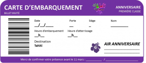 Anniversaire Tahiti - billet invitation vierge