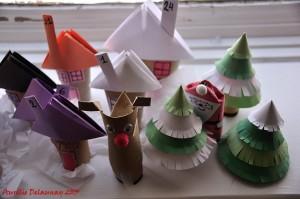 Village de Noël - Maisons, Renne et Père Noël