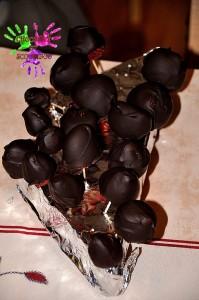 Sucettes de fraises et chocolat