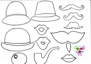 Jeu de deguisement - chapeaux bouches et moustaches - a colorier