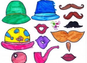 Jeu de deguisement - chapeaux bouches et moustaches - en couleurs