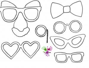 Jeu de deguisement - lunettes - a colorier