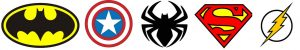 Logos super héros couleurs