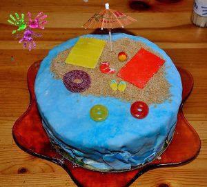 Fête d'anniversaire Tahiti - gâteau de plage